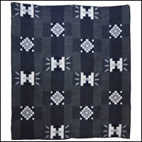 Early Indigo Picture Kasuri Cotton Futon Cover Geometric Motif