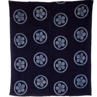 Early Indigo Picture Kasuri Cotton Futon Cover Kamon Design