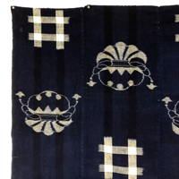 Early Indigo Picture Kasuri Cotton Futon Cover Kinchaku Money Bag