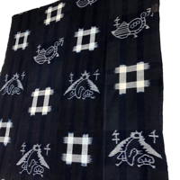 Early Indigo Picture Kasuri Cotton Futon Cover  Crane tsuru Turtle kame