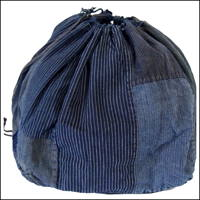Extra Large Komebukuro Indigo Cotton Rice Bag