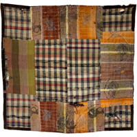 Primative Boro Patchwork Check Cotton Kotatsu Shiki Rug or Carpet Textile