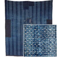 Indigo Cotton KotatsuShiki Rug or Carpet Textile Many Many Sashiko Stitches