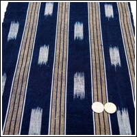 Uncommon Kasuri and Stripe Shima Dark Indigo Cotton Textile