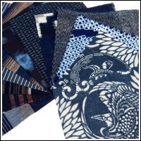 12 Mixed Indigo Textile Squares