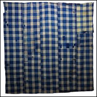 DIy Boro Repair Large Check Indigo Cotton Boro Textile
