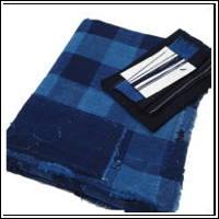 DIY Boro Repair Check Indigo Cotton Futon Cover Fabric