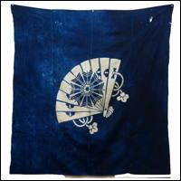 Cotton Indigo Tsutsugaki Furoshiki Fan Design