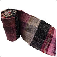 Old Hand Woven Sakiori Colorful Cotton Obi Primative Pastels