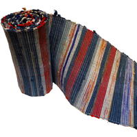 Extra Long Old Hand Woven Sakiori Colorful Cotton Obi