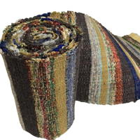 Long Old Hand Loomed Sakiori Colorful Silk  Cotton Obi
