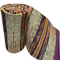 Old Hand Loomed Sakiori Colorful Cotton Obi