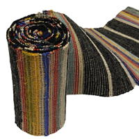 Long Old Hand Loomed Sakiori Colorful Cotton Obi