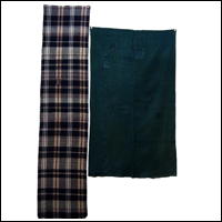 Set Of 2 Cotton Textile Panels Solid Green and Check