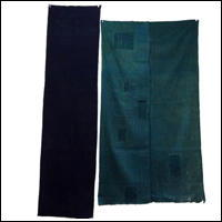 Set Of 2 Cotton Textile Panels Solid Indigo and Check