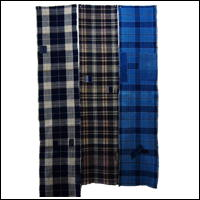 Set Of 3 Cotton Textile Panels Indigo Checks