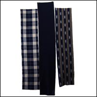 Set Of 2 Cotton Textile Panels Solid Indigo Kasrui and Check