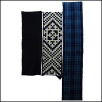 Set Of 3 Cotton Textile Panels Solid Indigo Picture Kasuri and Check Patterns