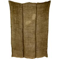 Kaya Variegated Coffee Latte Mixed Hemp  Cotton Mosquito Netting 3 Panels Hand Sewn Together