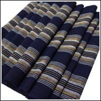 Old Stripe Cotton Indigo Textile Long Panel