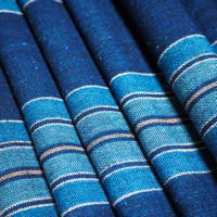 Wonderful Old Stripe Homespun Hand Woven Indigo Cotton Textile