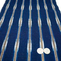 Unusual Beautiful Old Kasuri Stripe Homespun Hand Woven Indigo Cotton Textile