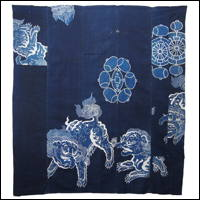 Early Shishi Temple Guardian Lions Tsutsugaki Cotton Indigo Futon Cover