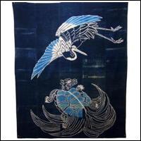 Antique Indigo Cotton Tsutsugaki Marital Futon Cover
