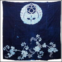 Antique Indigo Cotton Tsutsugaki Textile