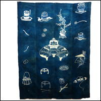 Antique Indigo Cotton Tea Ceremony Tsutsugaki Marital Futon Cover
