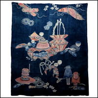 Antique Indigo Cotton Tea Ceremony Tsutsugaki Marital Futon Cover