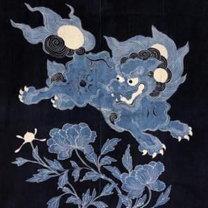 Outstanding Antique Indigo Cotton Tsutsugaki Futon Cover Shishi Lion