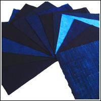 12 Solid Indigo Cotton Textile Squares