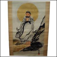 Buddhist Deity Dharma Japanese Hanging Scroll Kakejiku
