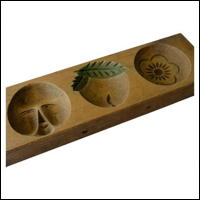 Small Tripple Image Kashigata Wooden Sweets Mold Hand Carved
