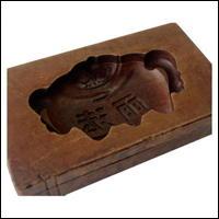 Buddhist Teachings Dharma Rain Kashigata Wooden Sweets Mold Hand Carved