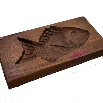 Kigata or Kashigata Wooden Sweets Mold Hand Carved Red Snapper Fish Tai