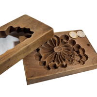 Kigata or Kashigata Wooden Sweets Mold Hand Carved Chrysanthemum