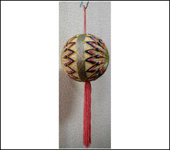 Old Japanese Handmade Temari Ball with Hanging Cord and Tassel